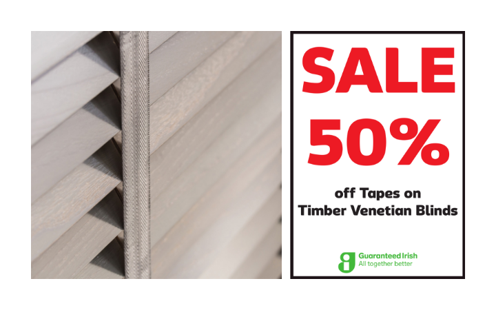 50% off Tapes on Timber Venetian Blinds
